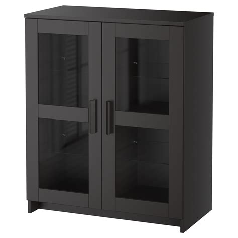 Black Cabinets With Glass Doors Brimnes Cabinet With Doors Glass Black 78x95 Cm Ikea