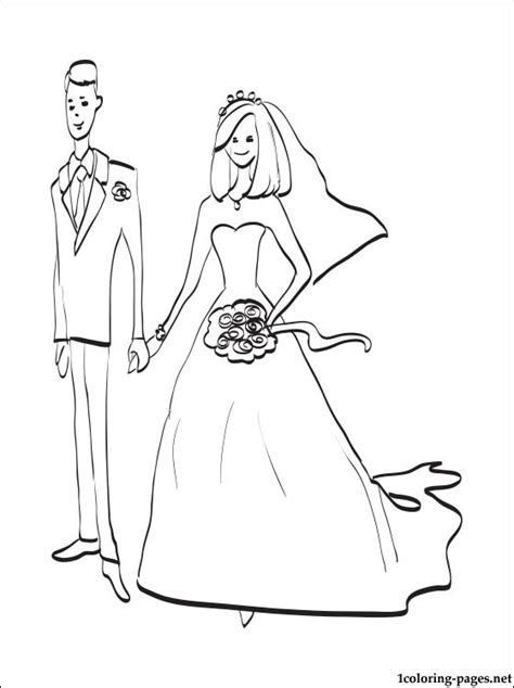 Bride and groom coloring page | Coloring pages