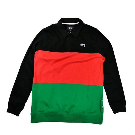 buy black stussy 3 tone polo clothing natterjacks