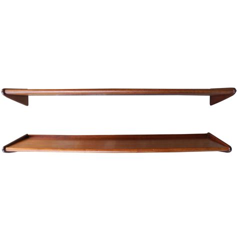mid century modern teak floating shelves 1950s for