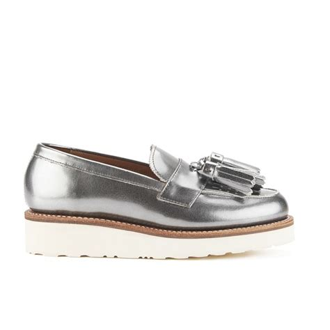 silver loafers womens grenson s clara v leather tassle loafers in silver