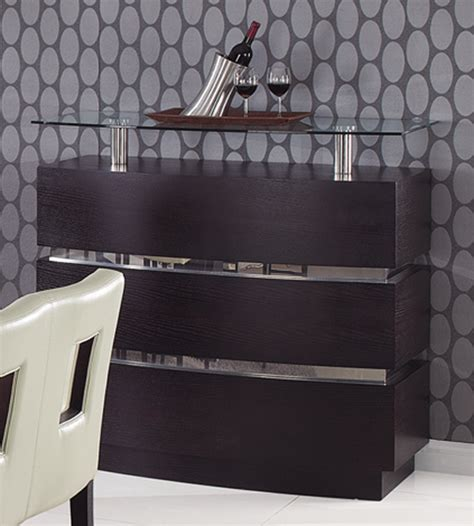 wenge contemporary bar cabinet with glass shelves prime