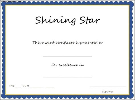 shining star certificate template sle templates