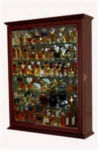 Curio Cabinet Black Finish Miniature Perfume Bottle Display Case Shadow Box Wall