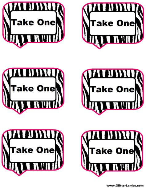 take one template glitter lambs pink zebra food label cards and free
