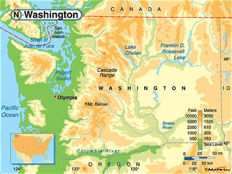 a physical map of washington washington cascades map images