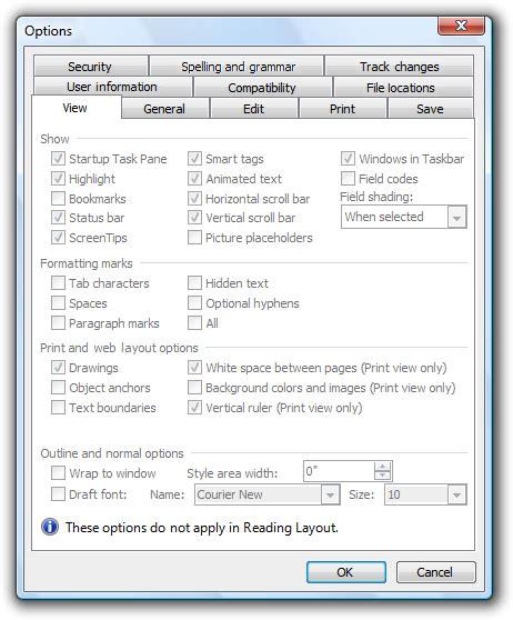 reading layout word 2003 property windows windows
