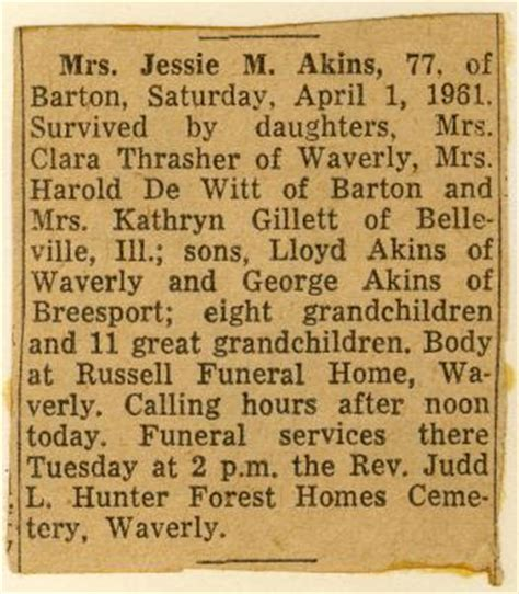random notes obituary of mable ingling akins 1883