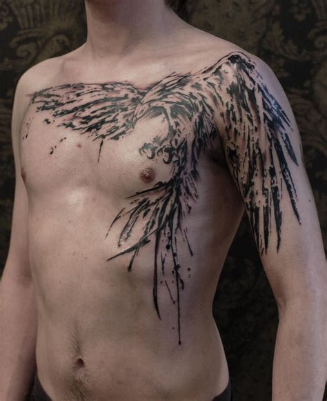 tattoo on chest pinterest phoenix on chest tattoo graphic brush stroke style