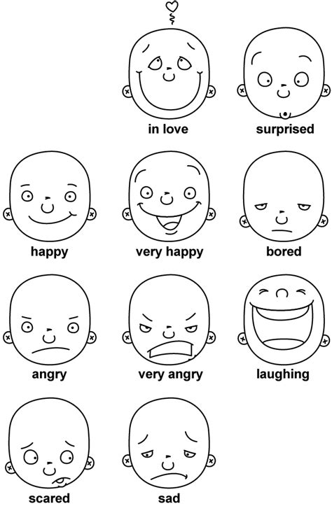 emotion faces coloring pages coloring pages