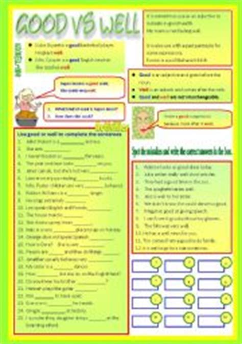 Vs Well Worksheet by Vs Well Adjective Vs Adverb B W