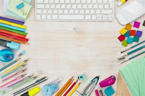 craft your wallpaper various office supplies background with copy space in the