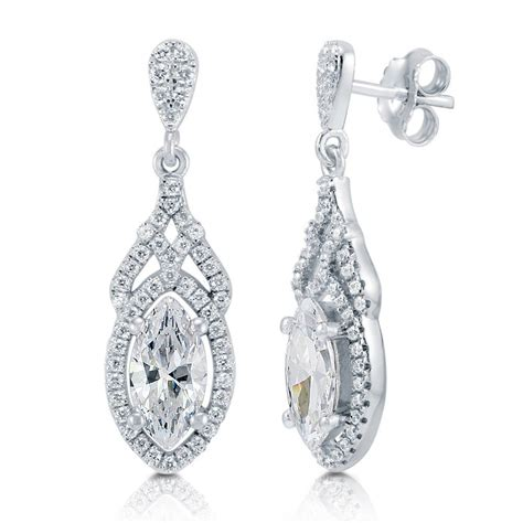 Sterling Silver Earring berricle sterling silver marquise cut cz halo deco