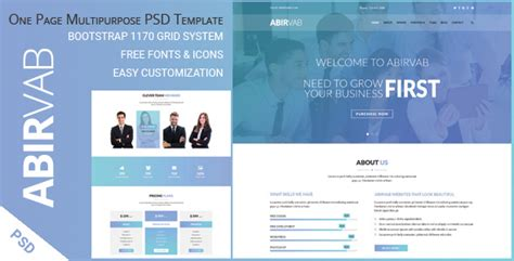Abirvab One Page Multipurpose Psd Template By Ambidextrousbd Themeforest One Page Shopping Cart Template