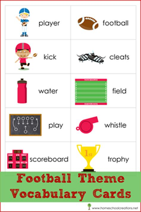 english words themes free football theme vocabulary cards for read build