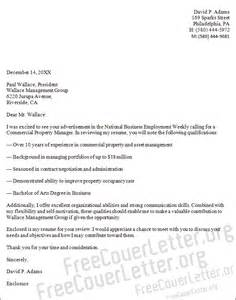 property management cover letter commercial property manager cover letter sle