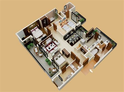 home design 3d 3 bhk 3bhk with servant s room plan interior design ideas
