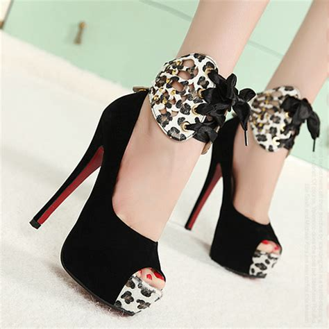 High Heels Um Black european styles peep toe bow tie embellished