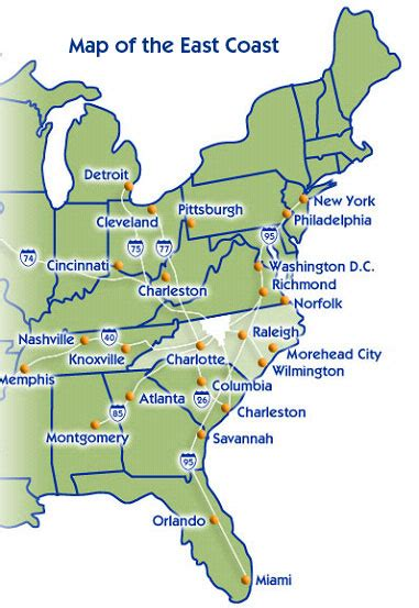 america map east map of eastern seaboard united states