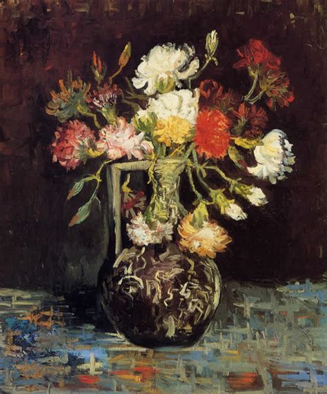 Vincent Gogh Vase by Vincent Gogh Vase With White And Carnations