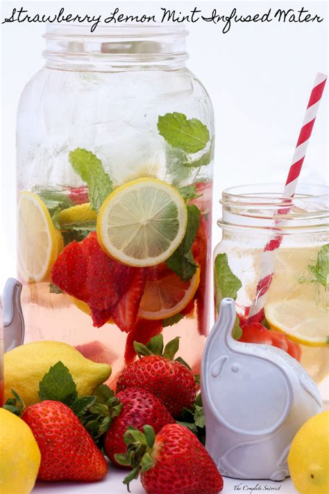Lemon And Strawberry Detox Water Recipe by Strawberry Lemon Mint Infused Water The Complete Savorist