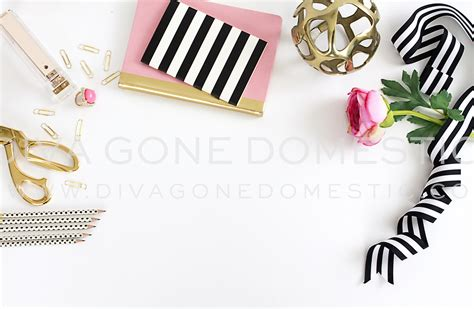 Pink And Gold Desk Calendar by Styled Desk Top Chic Pink Office Product Mockups On