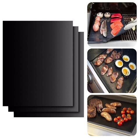 Teflon Grill walfos brand set of 3 0 19mm thick ptfe barbecue grill mat