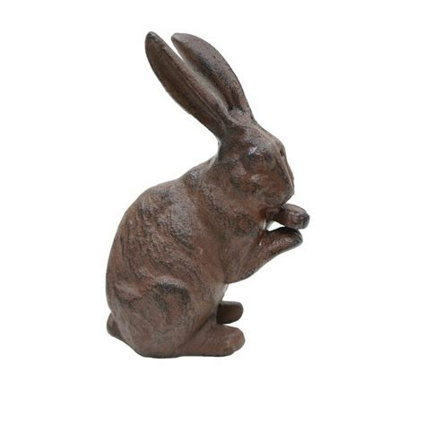 rabbit cast iron door stop cast iron preening rabbit antique rust statue decorative doorstop