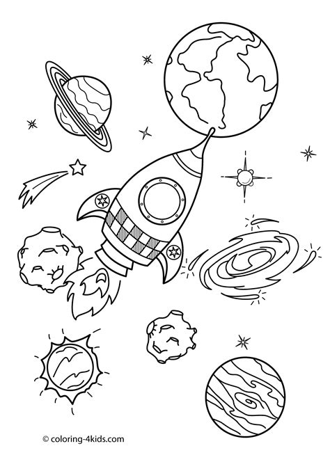 space coloring pages for kindergarten space coloring pages for kids with rocket printable free