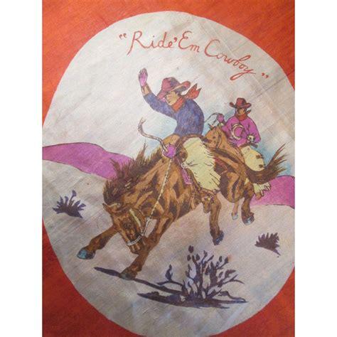 silk scarf vintage 1950s western cowboy teepee from