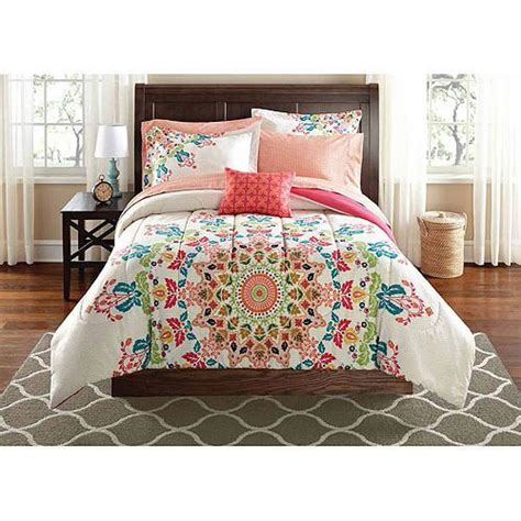 walmart bed new girls twin twin xl comforter white red teal coral kaleidoscope bedding set