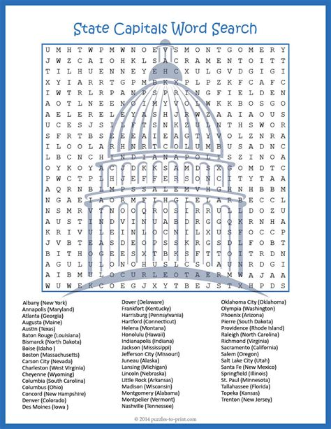 Us Search State Capitals Word Search Puzze Word Search Students And Learning
