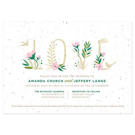 wildflower wedding invitation kits floral letters plantable wedding invitation plantable