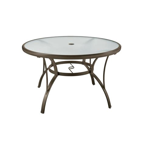 Patio Dining Table Only Hton Bay Commercial Grade Aluminum Brown Outdoor Dining Table Fta60762 The Home Depot