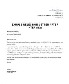 Rejection Letter Template Sle Rejection Letter 8 Exles In Word Pdf