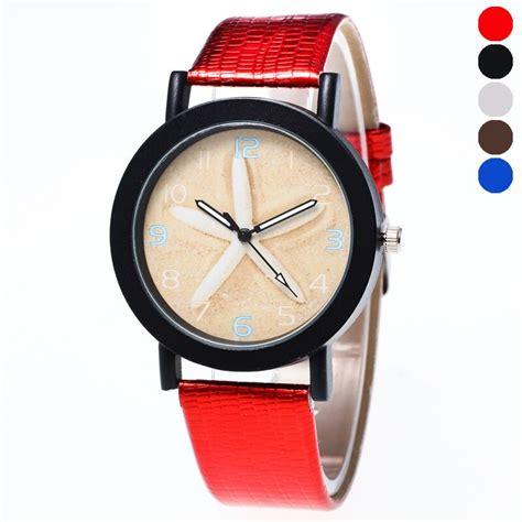 fashion starfish patter women watches leather strap wristwatches casual ladies dress quartz