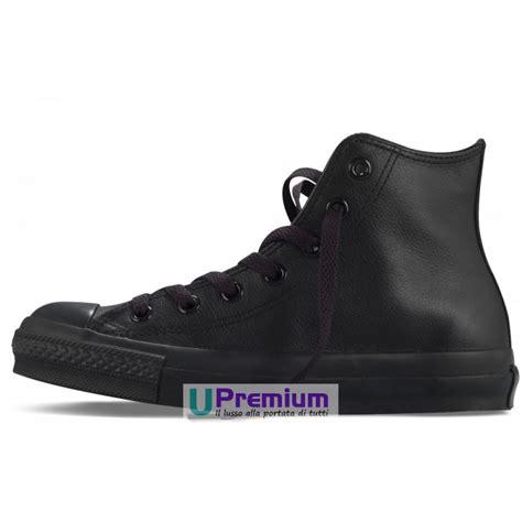 Conversehigh Total Black converse all hi leather pelle tutte nere total black classiche