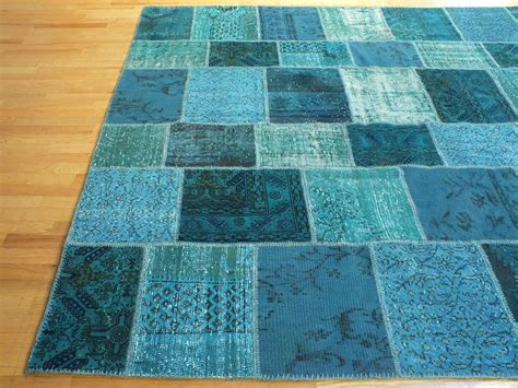 rug uk rugsville overdyed patchwork teal wool 17023 rug rugsville co uk