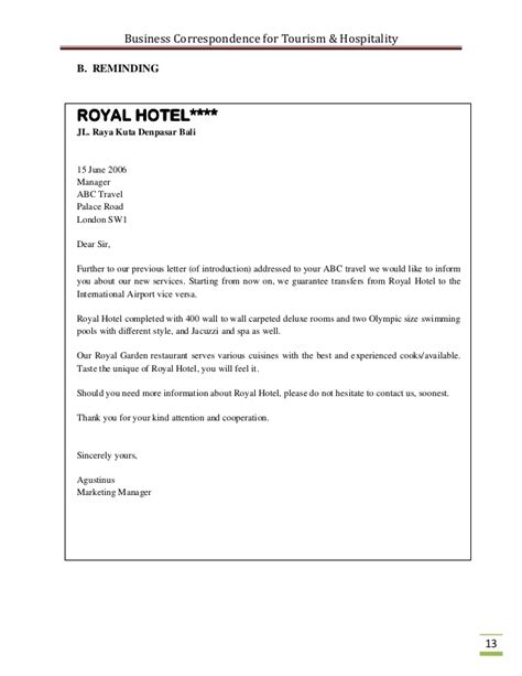 Cover Letter Travel Industry by Business Correspondence For The Tourism Industry
