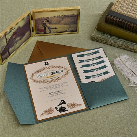 cards and pockets wedding template vintage jade and antique gold wedding pocket invitation