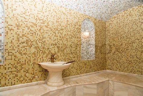 turkish bath with ceramic tile in style stock