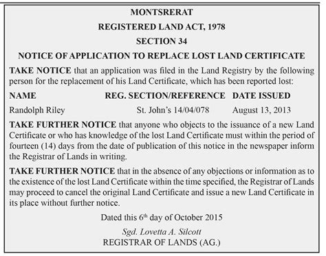 Notice land notices the montserrat reporter