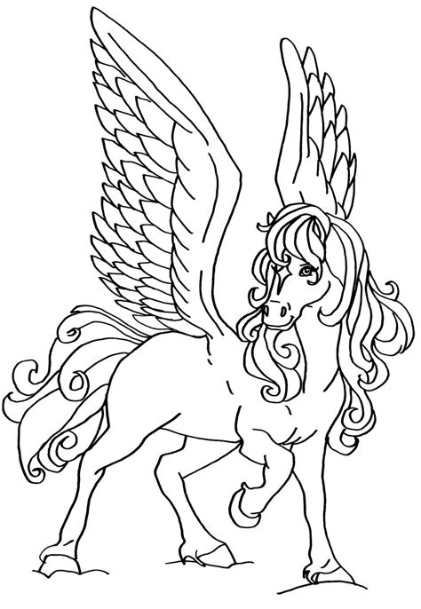 Coloring Pages Of Flying Horse | flying horse by elfkena on deviantart
