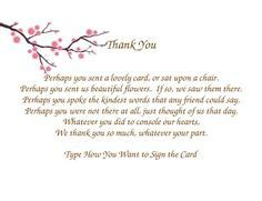 letter of appreciation after burial sle funeral thank you cards pinteres