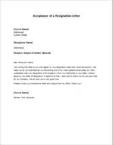 Letter To Accept Resignation by Acceptance Of A Resignation Letter Writeletter2