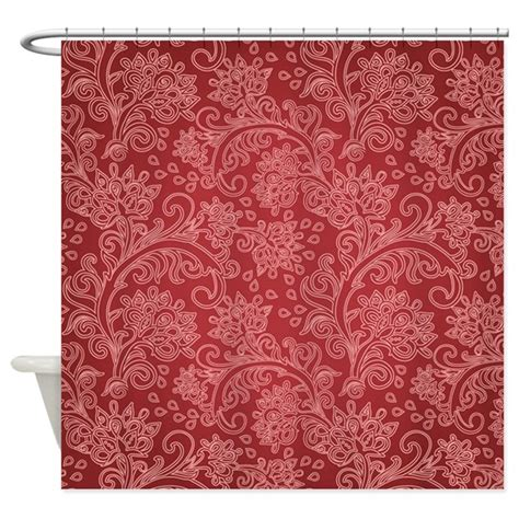 paisley curtains red paisley damask red vintage pattern shower curtain by doodlefly