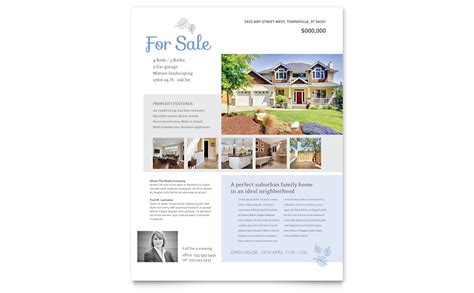 Real Estate Listing Flyer Template Word Publisher Microsoft Real Estate Flyer Templates