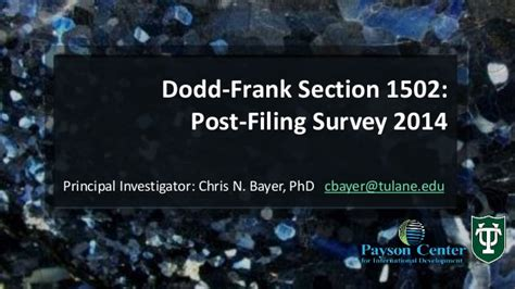 dodd frank section 619 conflict minerals survey tulane university