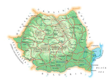 romania map with cities detailed elevation map of romania with roads cities and