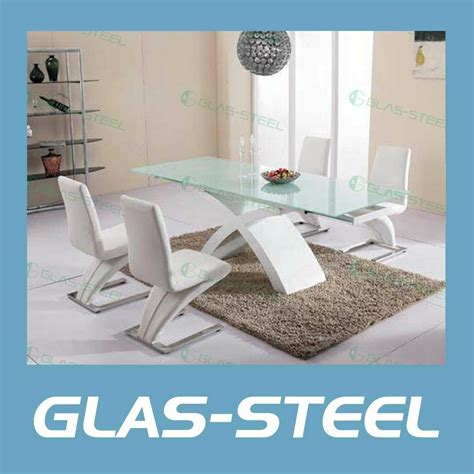 Two Side Extention MDF Lets Glass Dining Table   BT293   Glas steel (China Manufacturer